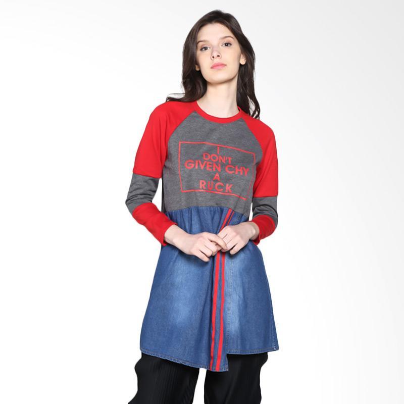 Carte Long Sleeve Faux Skirt Atasan Wanita - Dark Grey