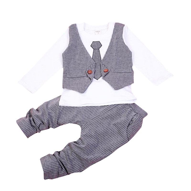 Chloe Babyshop F964 Toxedo 2in1 Dasi Panjang - Grey
