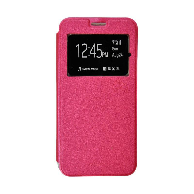 Smile Flip Cover Casing for Asus Zenfone Go ZC500TG - Hot Pink