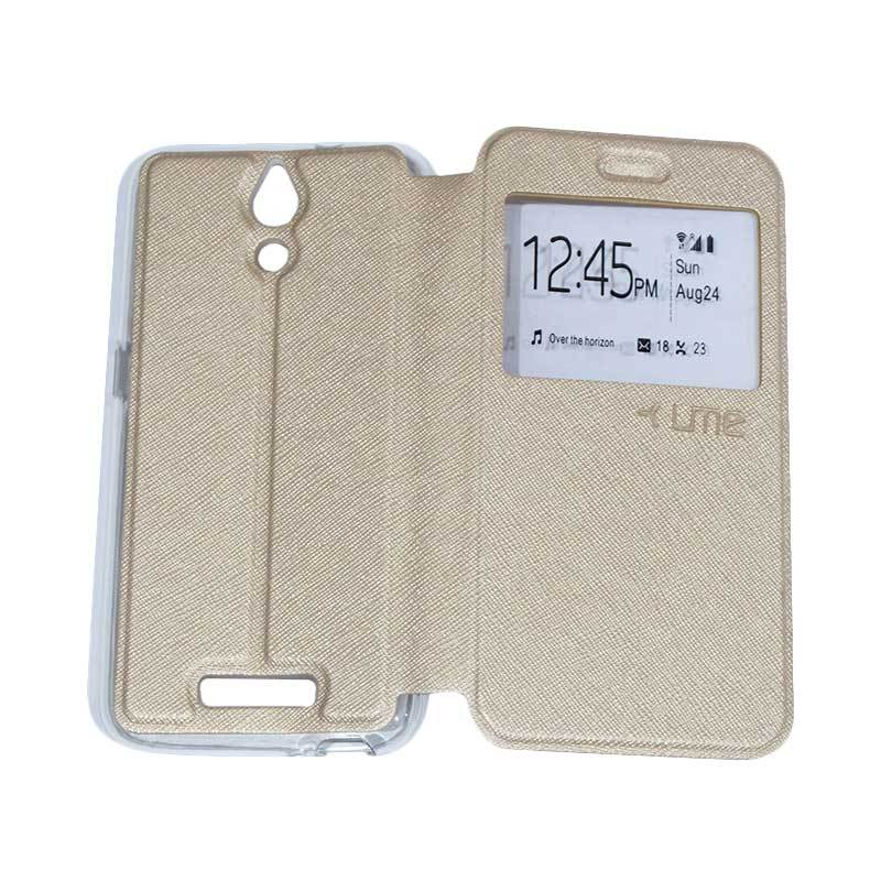 harga UME Flipshell / Flip Cover Casing for Coolpad Power E580 Leather Case / Sarung HP / Sarung Handphone / View - Gold Blibli.com