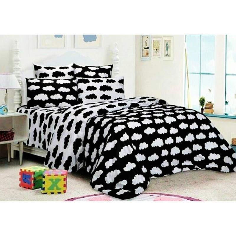Alona Ellenov Putih Garis Sprei With Bed Cover Katun Putih Source · Ellenov Motif Awan Sprei