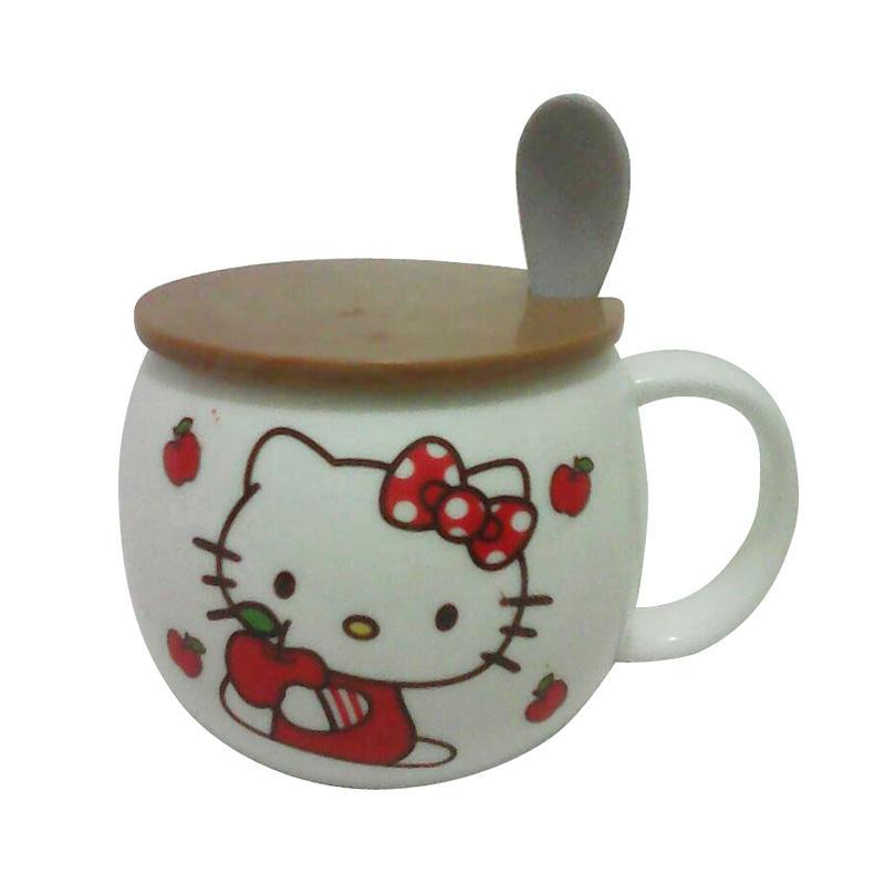 Hello Kitty Cangkir HK Keramik - White Pink [250 mL]