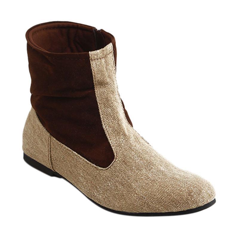 Fav Shoes Xelena Boot Sepatu Wanita - Cream Brown