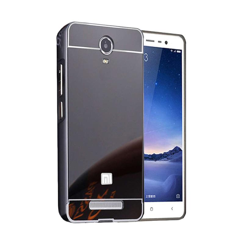Case Bumper Metal with Back Case Sliding Casing for Xiaomi Redmi Note 4 - Black