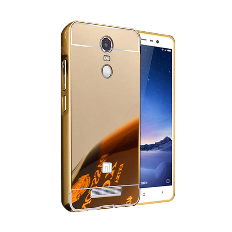 Case Bumper Metal with Back Case Sliding Casing for Xiaomi Redmi Note 4 - Gold