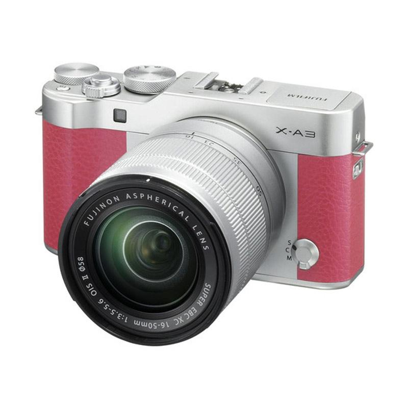 Fujifilm X-A3 Kit Lens 16-50mm Kamera Mirrorless - Pink + INSTAX MINI 8 +SDHC 16GB RESMI PT FUJIFILM INDONESIA.