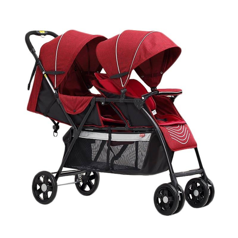 Baby's Only T2 Double Twin Tandem Stroller - Red