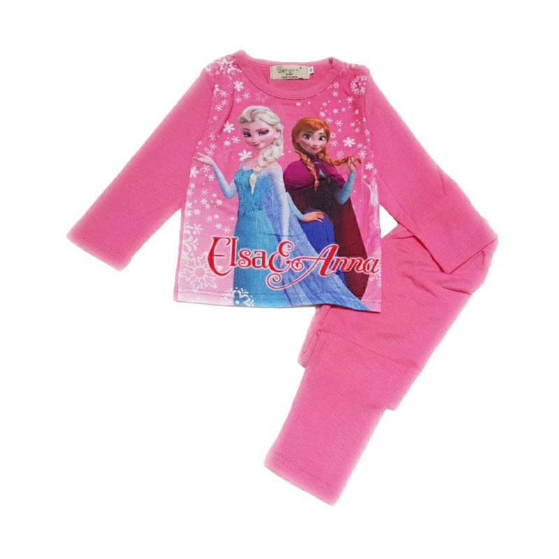 Chloe Babyshop F318 Frozen Elsa Anna Piyama Anak - Pink