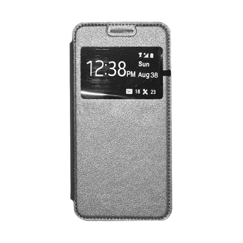 OEM Book Cover Leather Casing for Samsung Galaxy E5 - Grey