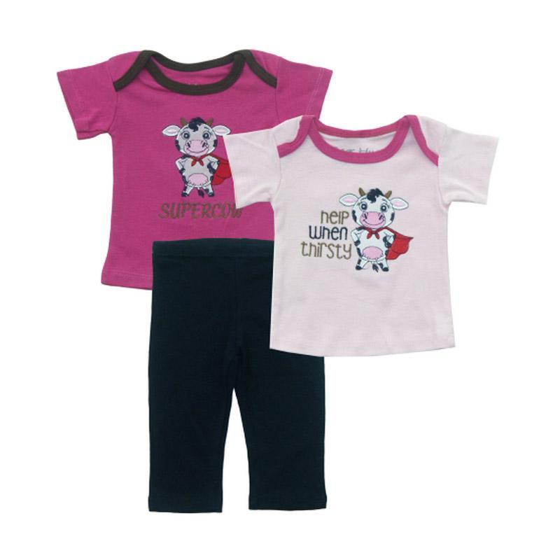 Bearhug Sapi [3 pcs] Setelan Pakaian Bayi Perempuan - Pink