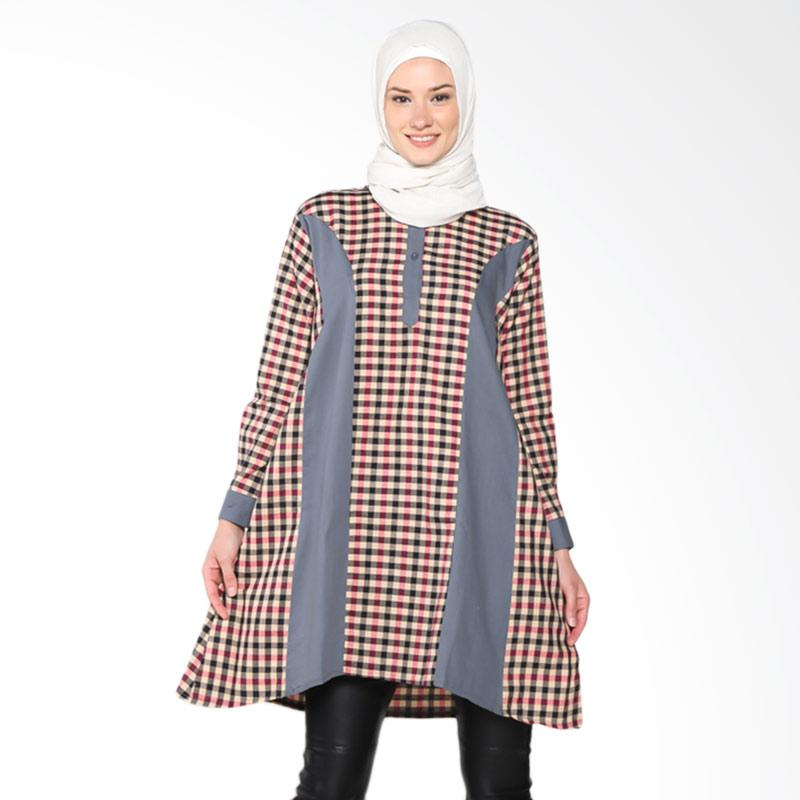 Chick Shop 2 CO-83a-01-At Checkered Tunic Muslim - Dark Grey