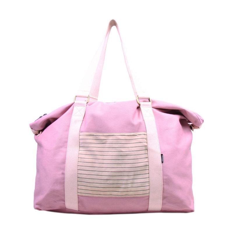 Mockup BWK 08 Striped Weekender Tas Wanita - Baby Pink