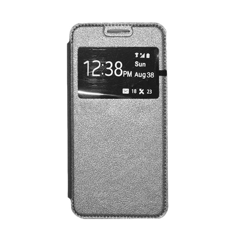 OEM Book Cover Leather Casing for Samsung Galaxy E7 - Grey