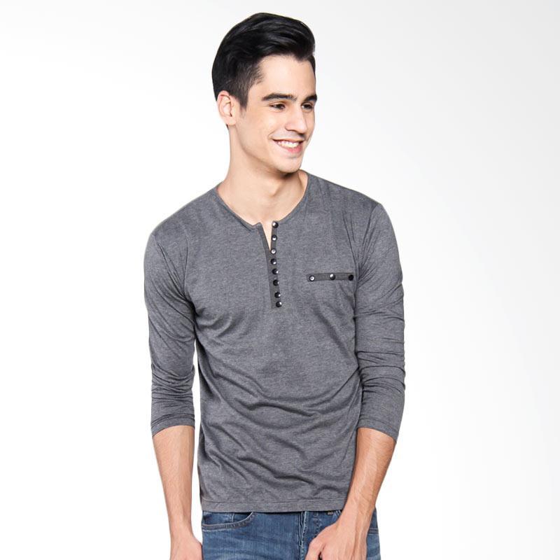 Bafash Patchwork Casual V-Neck Long Sleeve T-Shirt Men