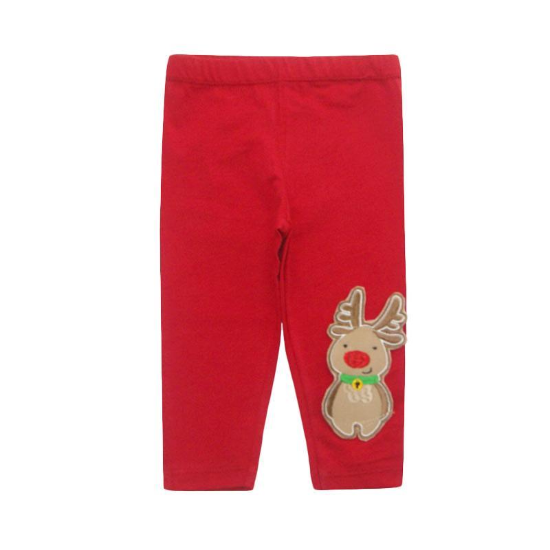 Bearhug Perempuan Rudolph Panjang Legging Bayi - Merah