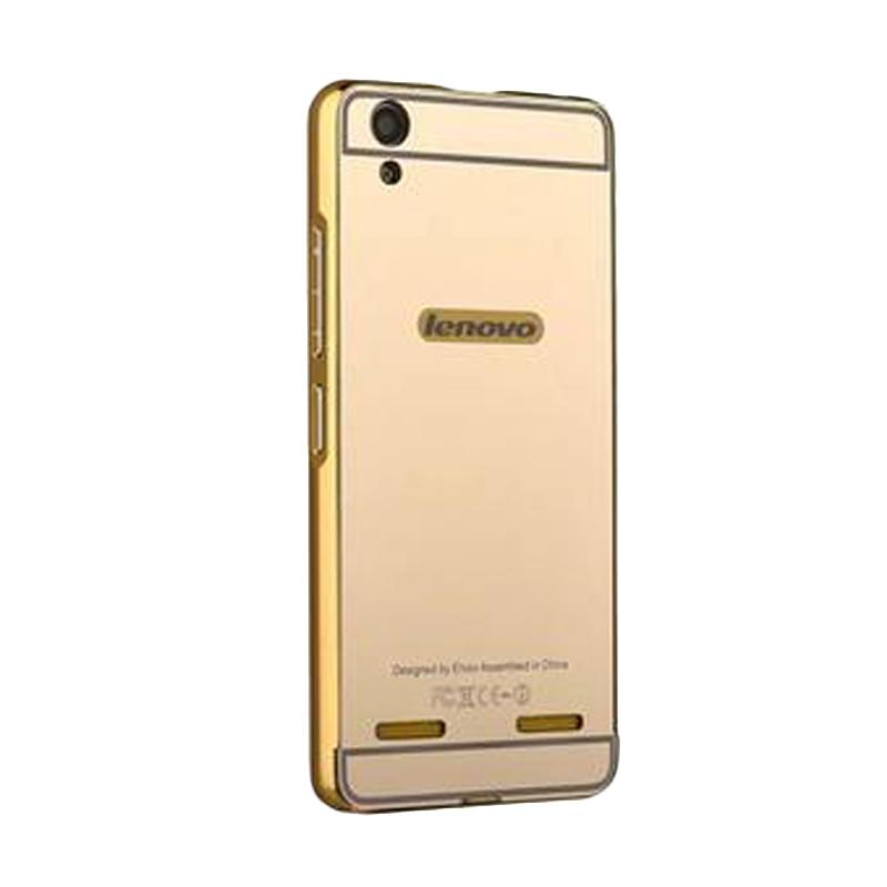 Bumper Mirror Sliding Casing for Lenovo A7000 - Gold