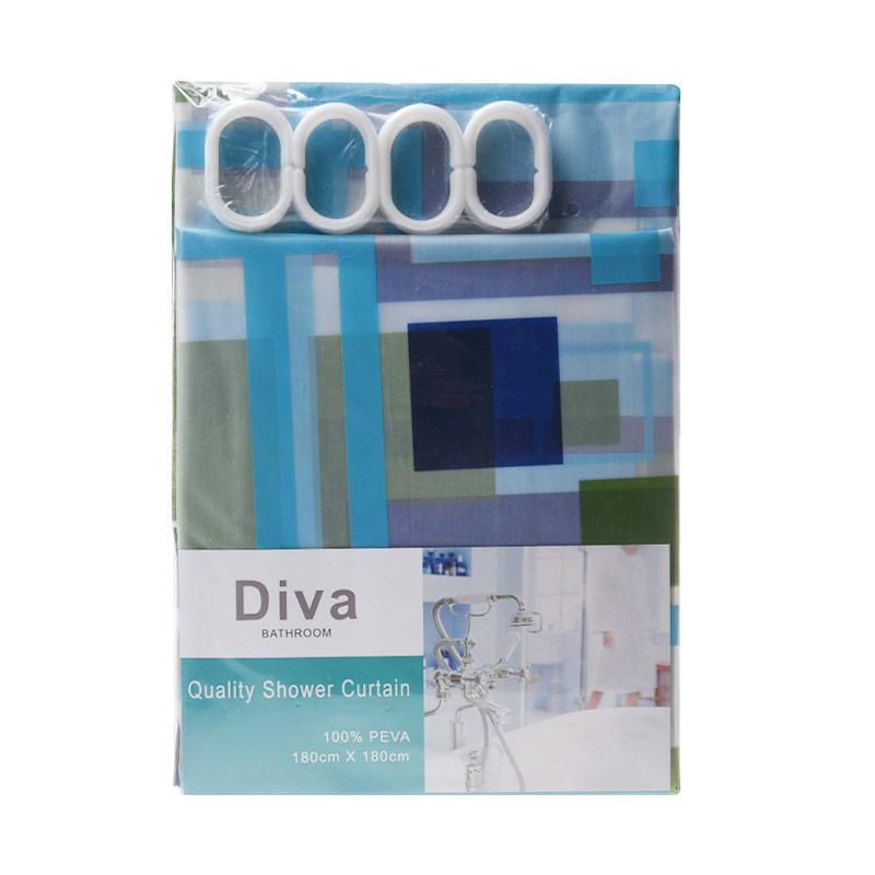 Jacq Square Shower Curtain Tirai Kamar Mandi - Blue Green