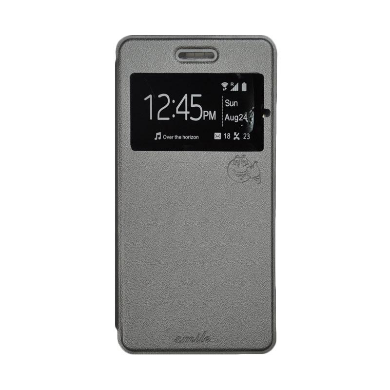 SMILE Standing Flip Cover Casing for Andromax R2 - Grey