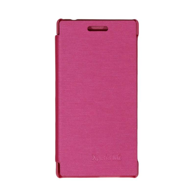 VR Leather Flip Cover Casing for Sony Xperia M2 S50H - Pink