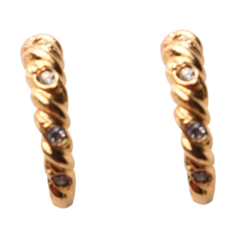 1901 Jewelry GW.2224.HR39 Rope Zircon Studs Anting - Gold