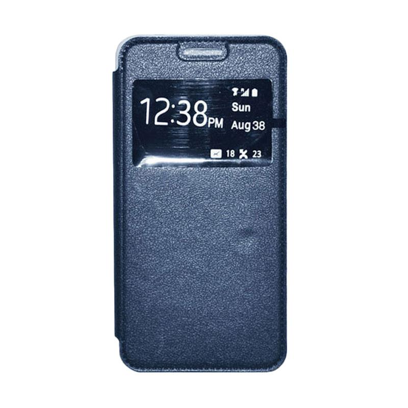 OEM Book Cover Leather Casing for Samsung Galaxy E5 - Navy
