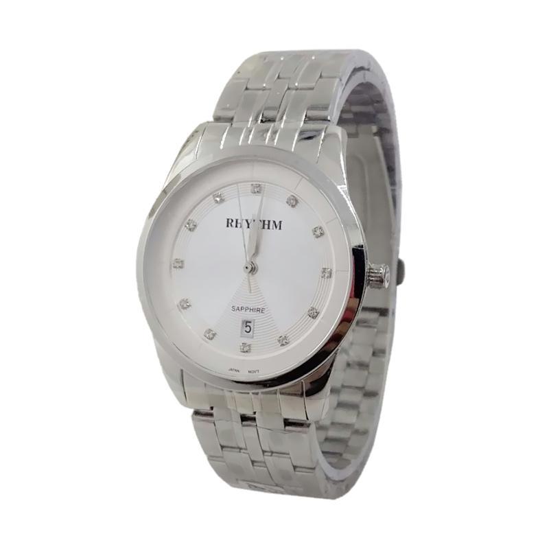 Rhythm Sapphire D45H405RH1301MSLVPP Date Jam Tangan Pria