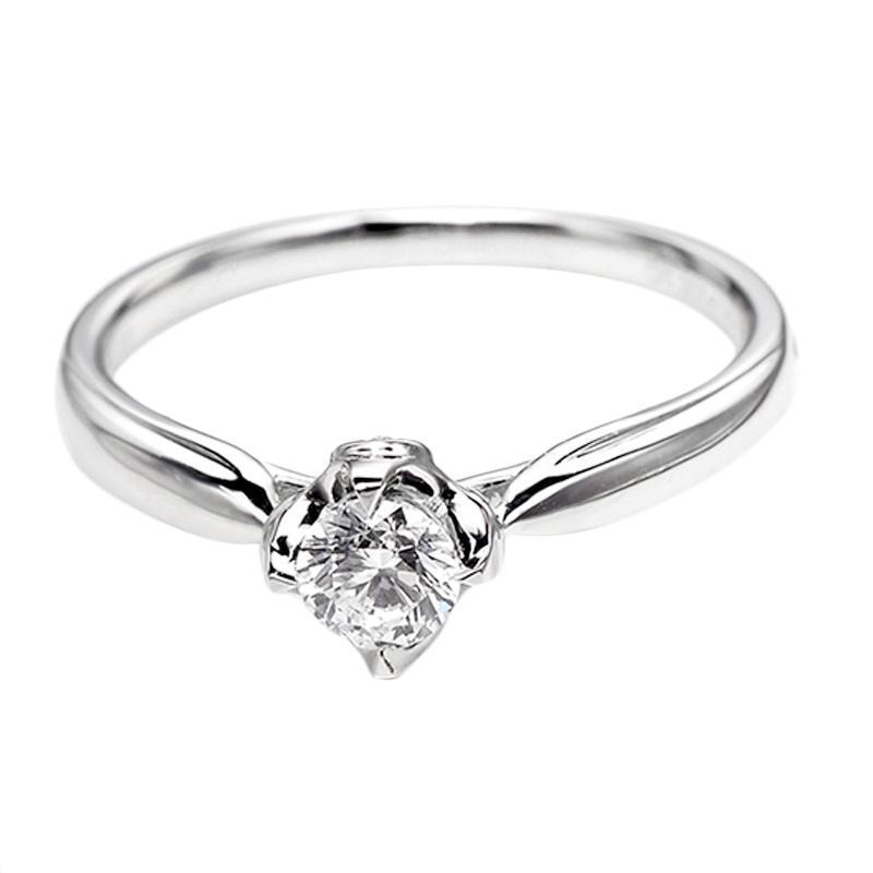 Tiaria DHTXDFJ040 Cincin Emas Putih Berlian - White Gold [18K]