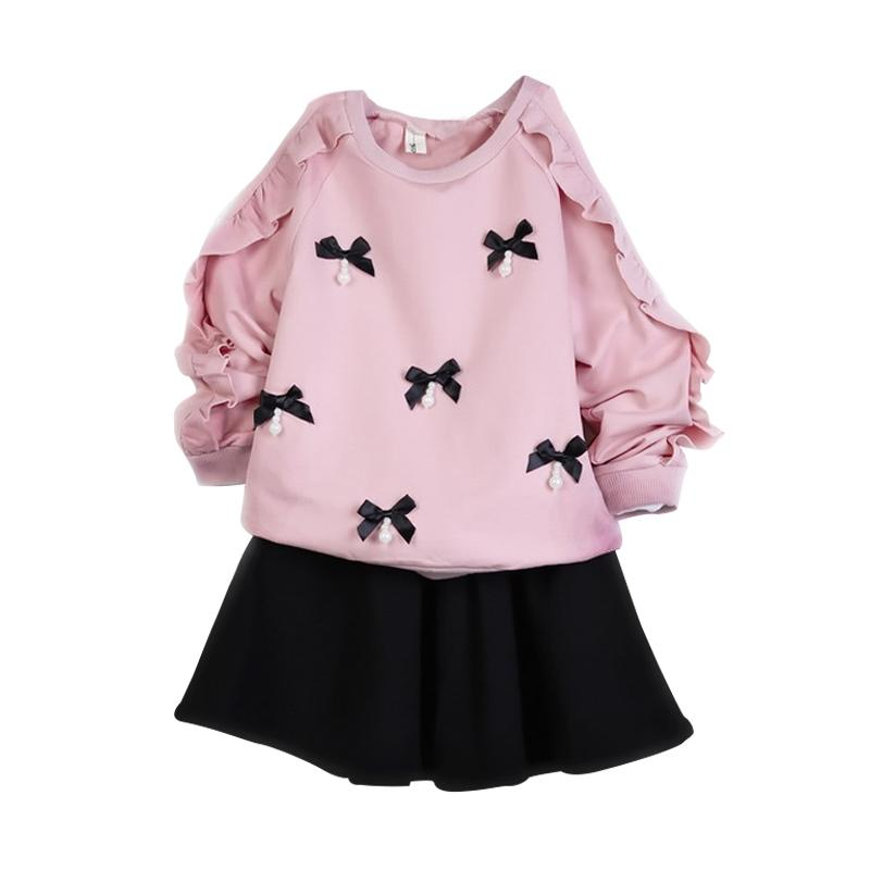 Chloebaby Shop F946 Ribbon Mutiara Setelan Baju Anak - Pink