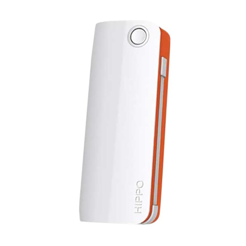 Hippo Snow White 2 Powerbank - Putih List Orange [6000 mAh]