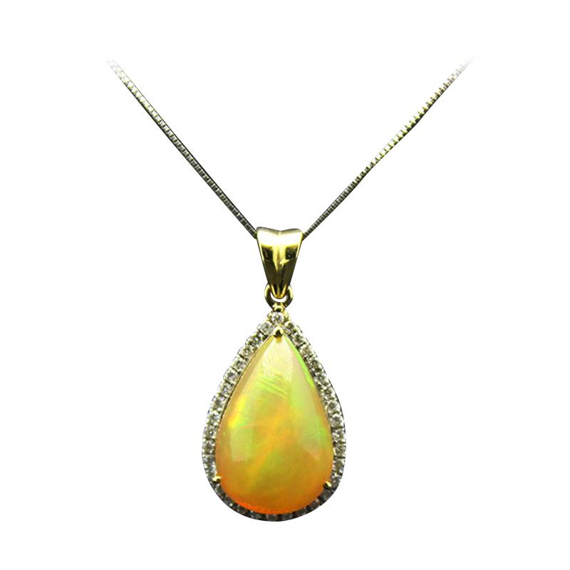 harga Batu Kalimaya Opal Pendant with Diamond - White Gold [14K] Blibli.com