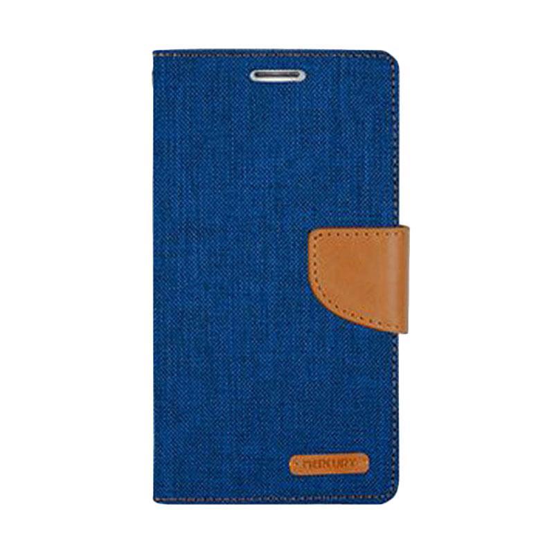 Mercury Canvas Diary Flip Cover Casing for iPhone 7 - Biru