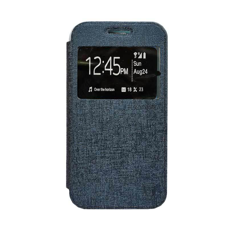 ZAGBOX Flip Cover Casing for Andromax A - Biru Dongker