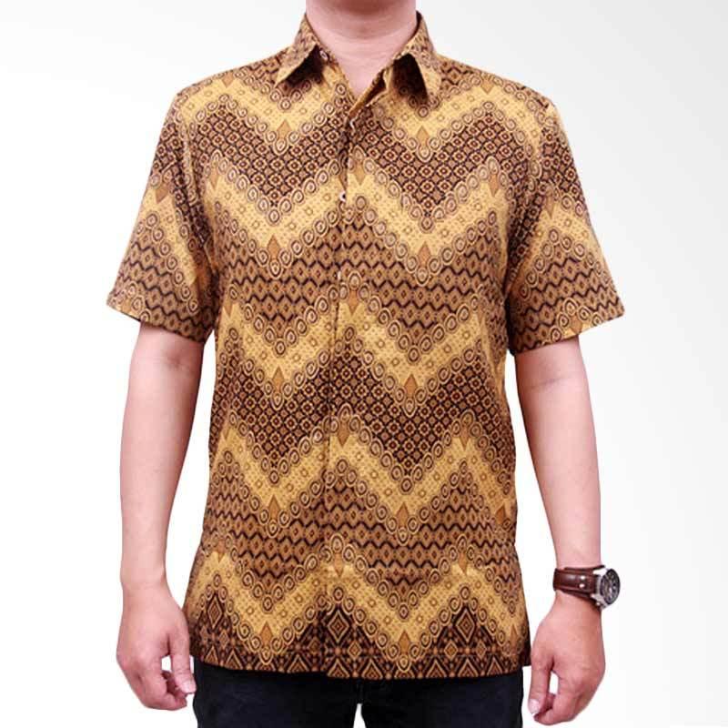 Batik Heritage Royal Peach Zigzag Slim Fit Baju Batik Pria - Gold