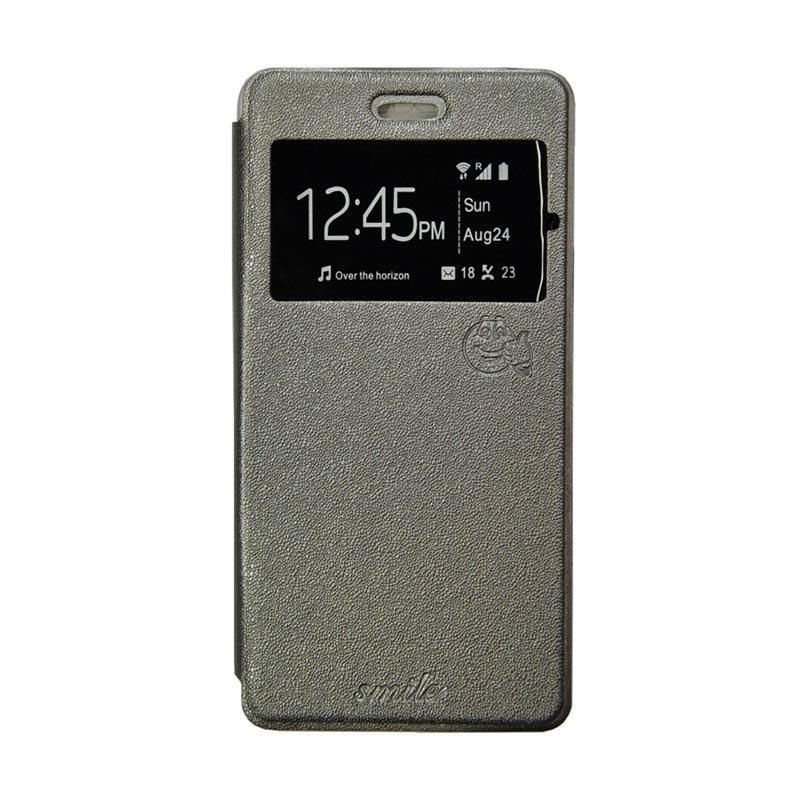 Smile Flip Cover Casing for Asus Zenfone Selfie ZD551KL - Abu-abu