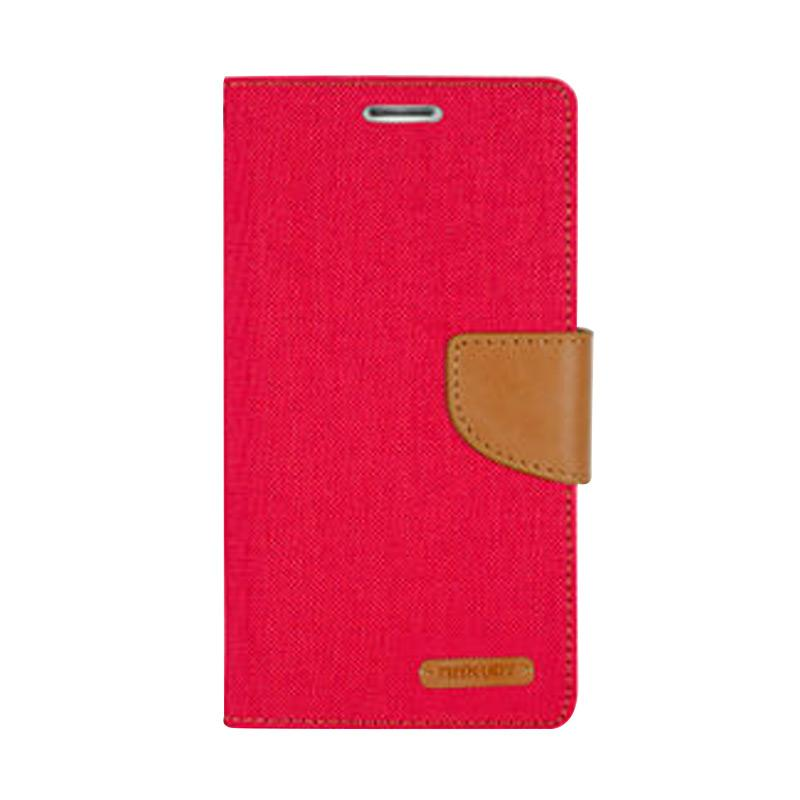Mercury Canvas Diary Flip Cover Casing for iPhone 7 - Merah