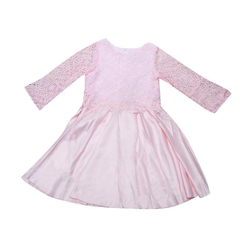 harga Wonderland Lengan Panjang Brukat Dress Anak - Pink Blibli.com