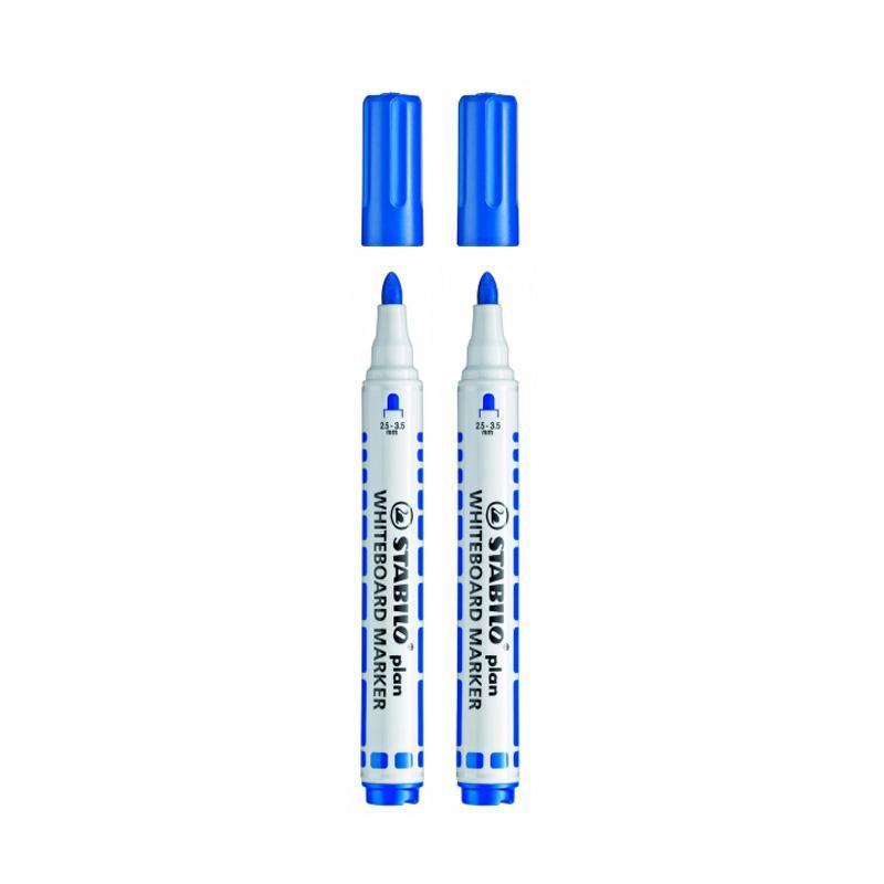 Stabilo Plan Bullet Whiteboard Marker Set - Blue [2 pcs]