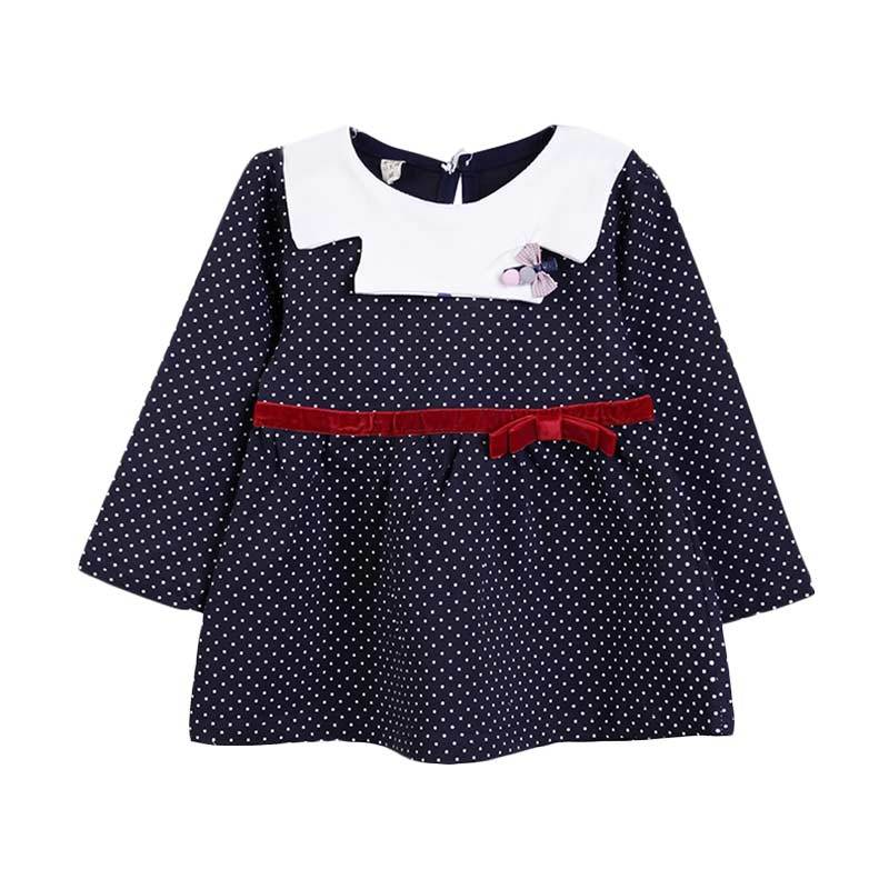 Chloebaby Shop F976 Polkadot Ribbon Dress - Navy