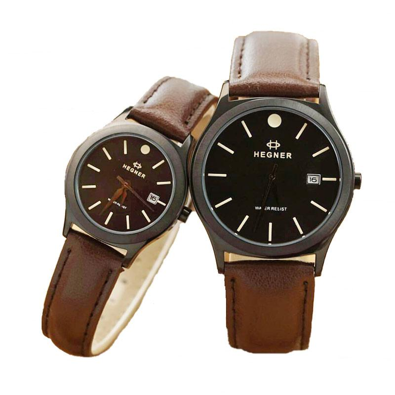 Hegner Leather Strap HGR 317 Jam Tangan Couple - Dark Brown
