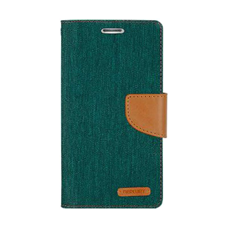 Mercury Canvas Diary Flip Cover Casing for iPhone 7 - Hijau
