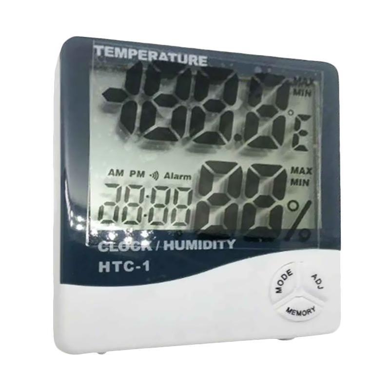 HTC 1 Digital Thermometer atau Hygrometer dengan Jam Alarm