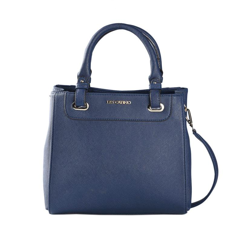 Les Catino Fay Satchel Solid Satchel Bags - Navy Blue