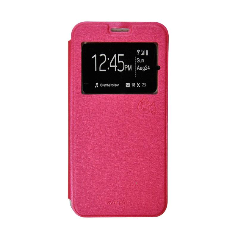 Smile Flip Cover Casing for Xiaomi Redmi 3 Pro - Hot Pink