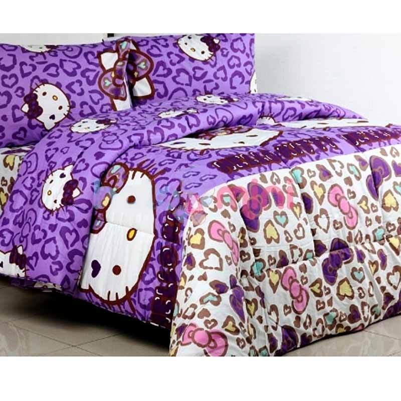 Ellenov Motif Kitty Leopard Set Sprei dan Bed Cover - Ungu