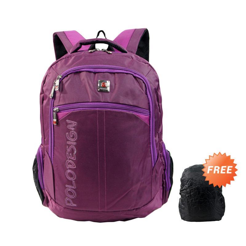 Polo Design PX1-21001L Tas Ransel + Rain Cover - Purple