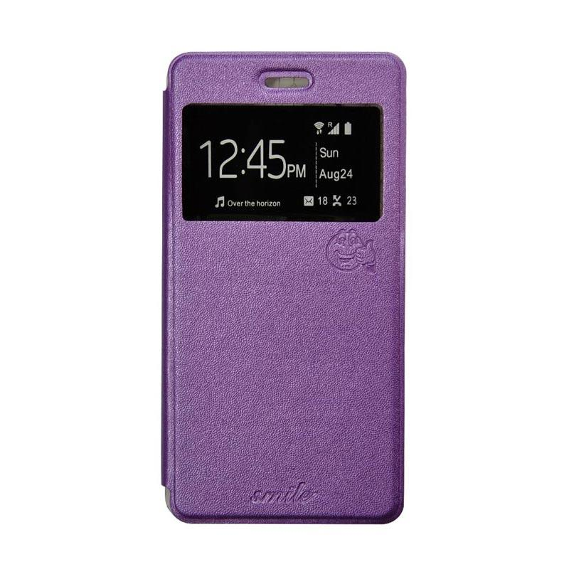 SMILE Standing Flip Cover Casing for Lenovo A5000 - Purple