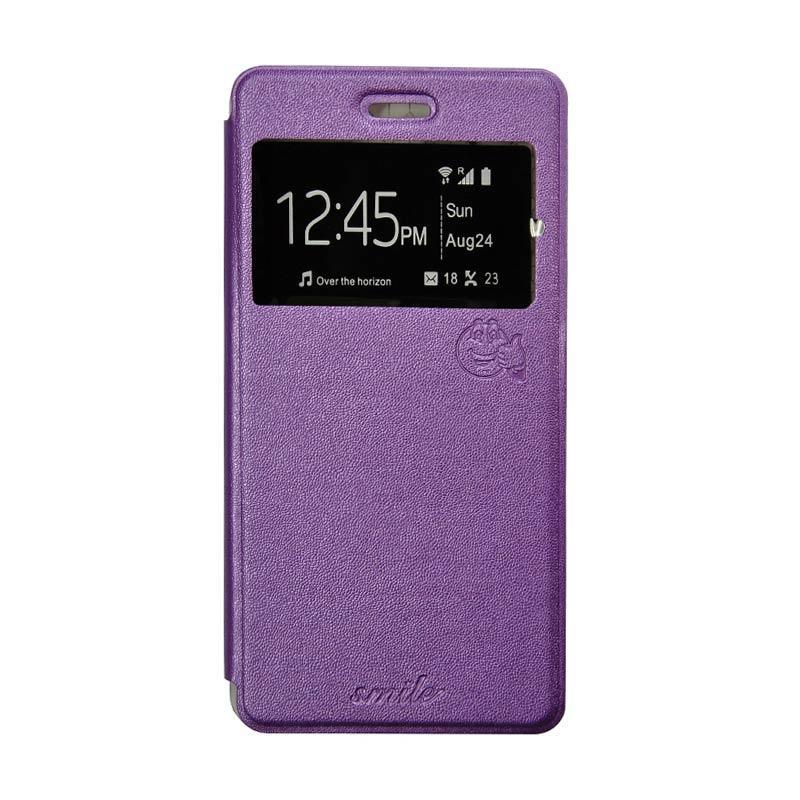 Smile Flip Cover Casing for Asus Zenfone Go mini ZC451TG - Ungu