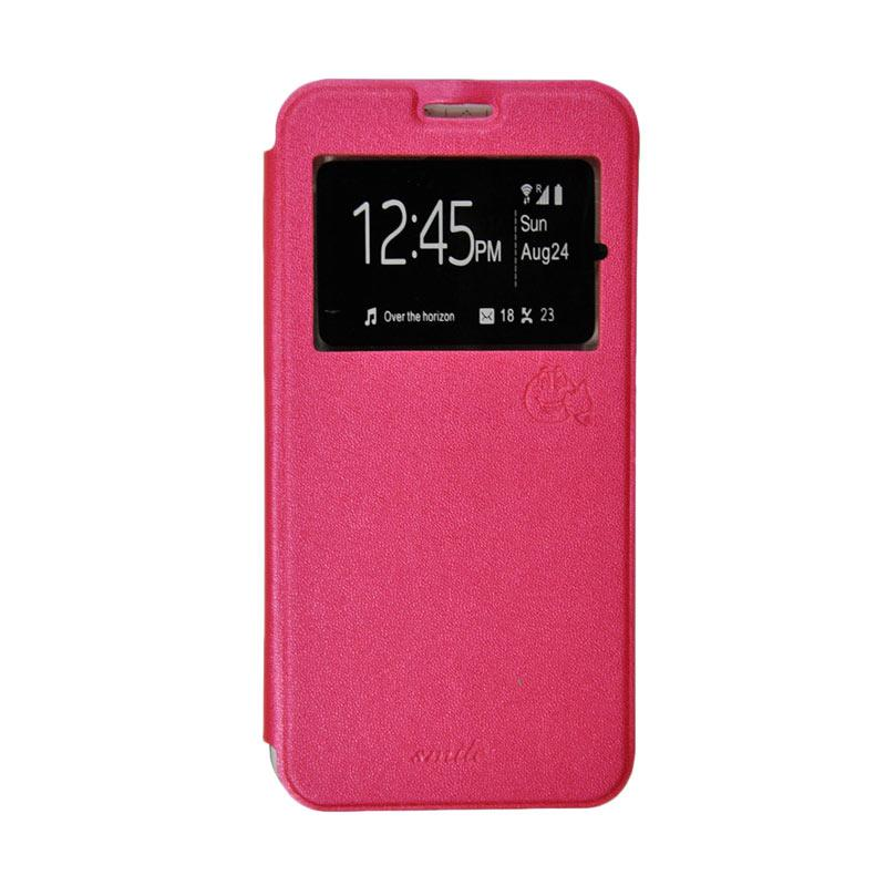 Smile Flip Cover Casing for Oppo R7 or R7 Lite - Hot Pink