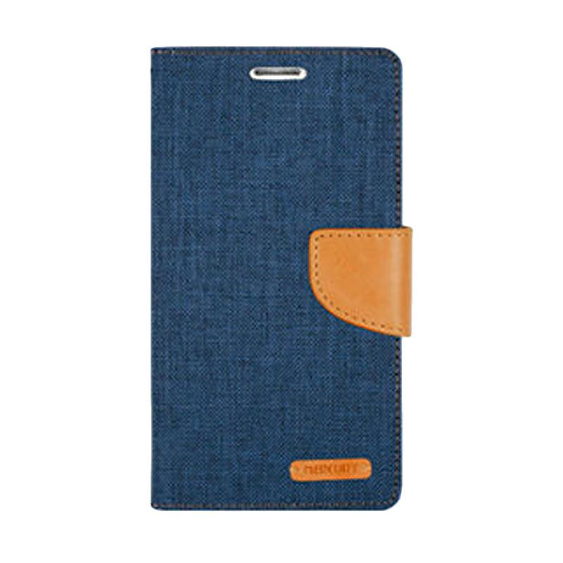 Mercury Canvas Diary Flip Cover Casing for iPhone 7 - Navy