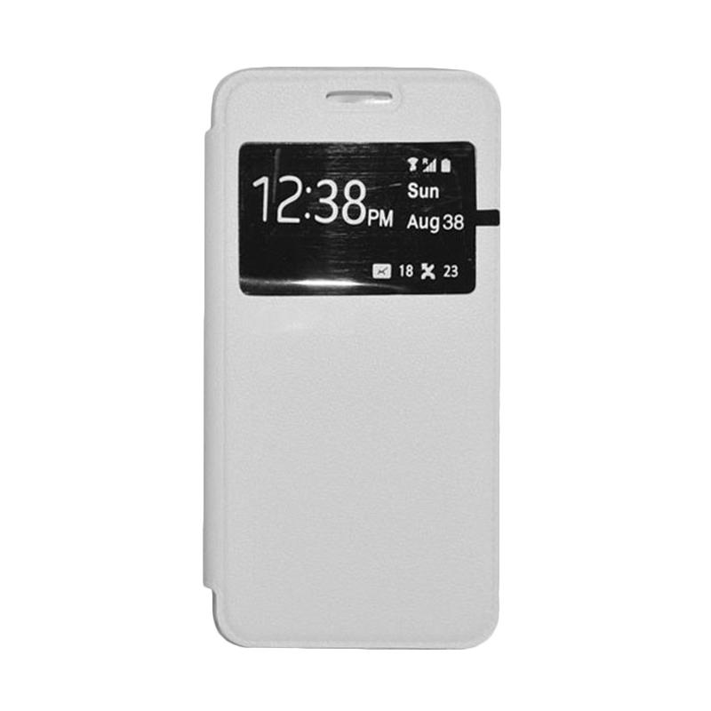 OEM Book Cover Leather Casing for Samsung Galaxy E7 - White